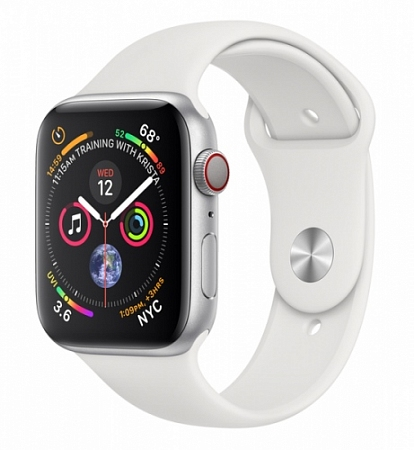 Apple Watch Series 4 GPS  44mm Silver Aluminum White Case with Sport Band Gps