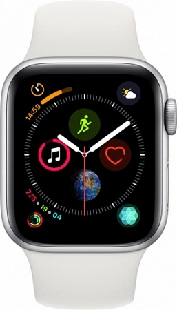 Apple Watch Series 4 40 mm Silver Aluminum Case with White Sport Band (GPS + Cellular)
